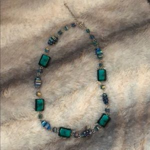 Teal Beaded Necklace.